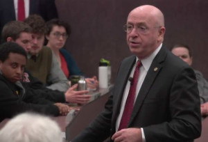 UW System President Ray Cross speaks to students at UW-Stout