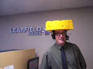WRN's Bob Hague with cheesehead.