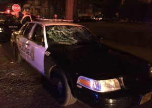 Milwaukee Police say this unoccupied squad car was damaged by protesters on Saturday night. (Photo: MPD)