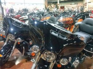 Motorcycles sit on display in the showroom at Harley-Davidson of Wausau (Photo: Raymond Neupert)