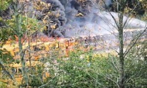 Fire at Dousman Transport in Hartland, WI. (Photo: Hartland Fire Department)