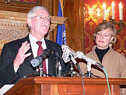 Tom Frazier of the Coalition of Wisconsin Aging Groups and Wisconsin Congresswoman Tammy Baldwin