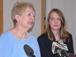 Abbey Thompson (right) pictured with Janet Jenkins (left) of Consumer Protection (Photo: Jackie Johnson)