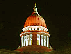 Orange capitol dome promotes Work Zone Awareness Week (Photo: Jackie Johnson)