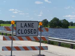 Flooding closes westbound I-94 at the Rock River.