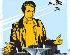 Bronze Fonz poster in Milwaukee
