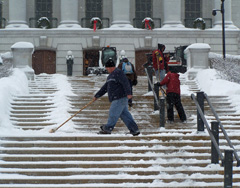 State Capitol workers have been kept busy shovelng this month. IMAGE: Bob Hague