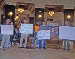 Protestors on both sides of the immigratiion issue In the rotunda of the Wisconsin state Capitol