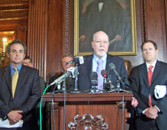 Senators Jon Erpenbach and Fred Risser with Representative Jon Richards at Capitol press conference