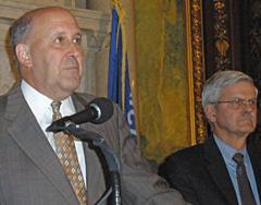 Governor Jim Doyle, Senator Mark Miller (Photo: Jackie Johnson)
