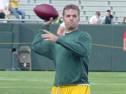 Matt Flynn warms up at Lambeau