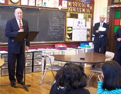 Gov. Doyle addresses school children in Madison.