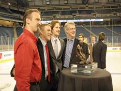 Blake Geoffrion with Mark Osiecki, Mike Eaves and Kevin Patrick