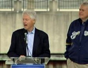 File photo: Former President Clinton campaigning for Mayor Barrett in Milwaukee.
