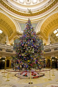 Official holiday tree in the rotunda of the state Capitol building. (File photo, WRN)