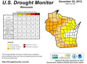 Wisconsin drought conditions (US Drought Monitor)