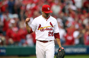 St. Louis Cardinals starting pitcher Kyle Lohse pumps his fist after getting out of the fourth inning against the San Francisco Giants at Busch Stadium in St. Louis during Game 3 of the National League Championship Series on October 16, 2012.  UPI/Bill Greenblatt