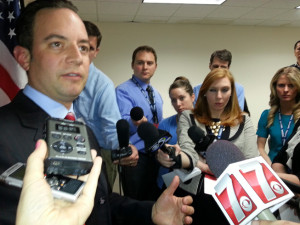 RNC Chair Reince Priebus talks to reporters after speaking at GOP convention