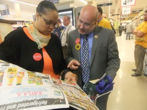Congressman Pocan checking for sales of grocery items (PHOTO: Pocan's office)