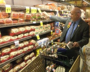 Congressman Pocan finds 99 cent bread to help stretch is grocery dollar. (PHOTO: Pocan's office)