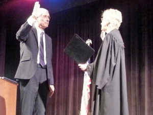 State Superintendent Tony Evers being sworn in to a second term in office. (Photo: Andrew Beckett)