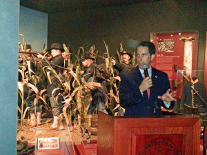 Governor Walker gives remarks at a Civil War exhibit grand opening in the Wisconsin Veterans Museum.