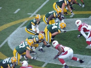 Graham Harrell runs the Packers offense