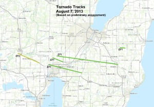 Map tracking tornadoes
