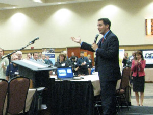 Gov. Scott Walker addresses a small business summit in Stevens Point. (Photo: Larry Lee)
