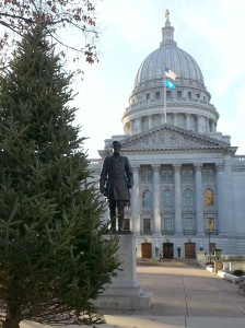 Smaller trees outside the Capitol building have been erected. They'll soon be decorated with colorful lights. (PHOTO: Jackie Johnson)