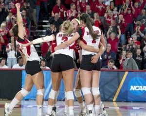 Badgers celebrate win over #1 Texas. PHOTO: UWBadgers.com