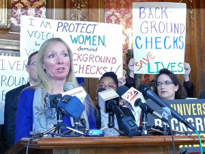 Jeri Bonavia with Wisconsin Anti-Violence Effort (WAVE) says polls show the majority of Wisconsinites support background checks.