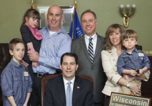 The Schaefer family with Gov. Scott Walker and Speaker Robin Vos.