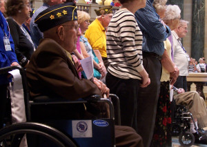 Veterans look on during a D-Day remembrance at the Wisconsin Capitol. (Photo: Andrew Beckett)