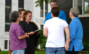 Same-sex marriage being performed in Madison.