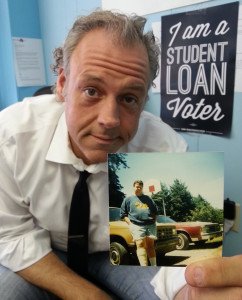 Scot Ross shows a photo of himself in 1988 just after his freshman year in college -- and shortly after signing on to what ended up being 26 years of student loan debt.