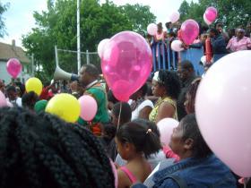 Residents gather for a prayer vigil for Sierra Guyton (Photo:  Bob Bach, WUWM)