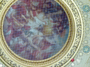 Netting covers artwork inside Capitol dome. (PHOTO: Jackie Johnson)