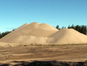 A pile of sand taken from a mining operation. (File photo: WSAU)