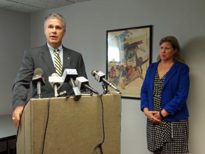 Wisconsin Attorney General JB Van Hollen along with Patti Seger, executive director of End Domestic Abuse Wisconsin. (PHOTO: Jackie Johnson)