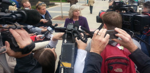 Mary Burke talks to reporters in Madison. (File Photo: Andrew Beckett)