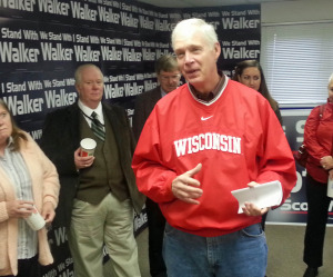 U.S. Sen. Ron Johnson speaks to GOP volunteers during a stop in Madison. (Photo: Andrew Beckett)