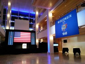 The room is set for Mary Burke's supporters to gather in Madison (Photo: Jackie Johnson)