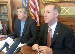 Assembly Speaker Robin Vos (right) and Finance Committee co-chair John Nygren (left) address members of the media. (Photo: Andrew Beckett)