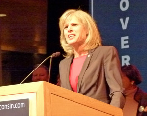 Mary Burke delivers her concession speech (PHOTO: Jackie Johnson)