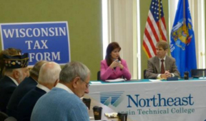 Lt. Gov. Rebecca Kleefisch and DOR Sec. Rick Chandler at a tax round table event.