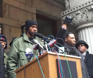 Nate Hamilton addresses supporters (PHOTO: WUWM)