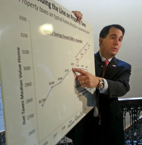 Governor Walker touts property tax relief. (PHOTO: Andrew Beckett)