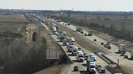Traffic backed up on I-94 near Janesville (Photo: WisDOT)