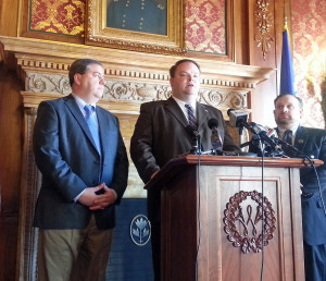 Lawmakers unveil proposed rideshare legislation. (Photo: Andrew Beckett)